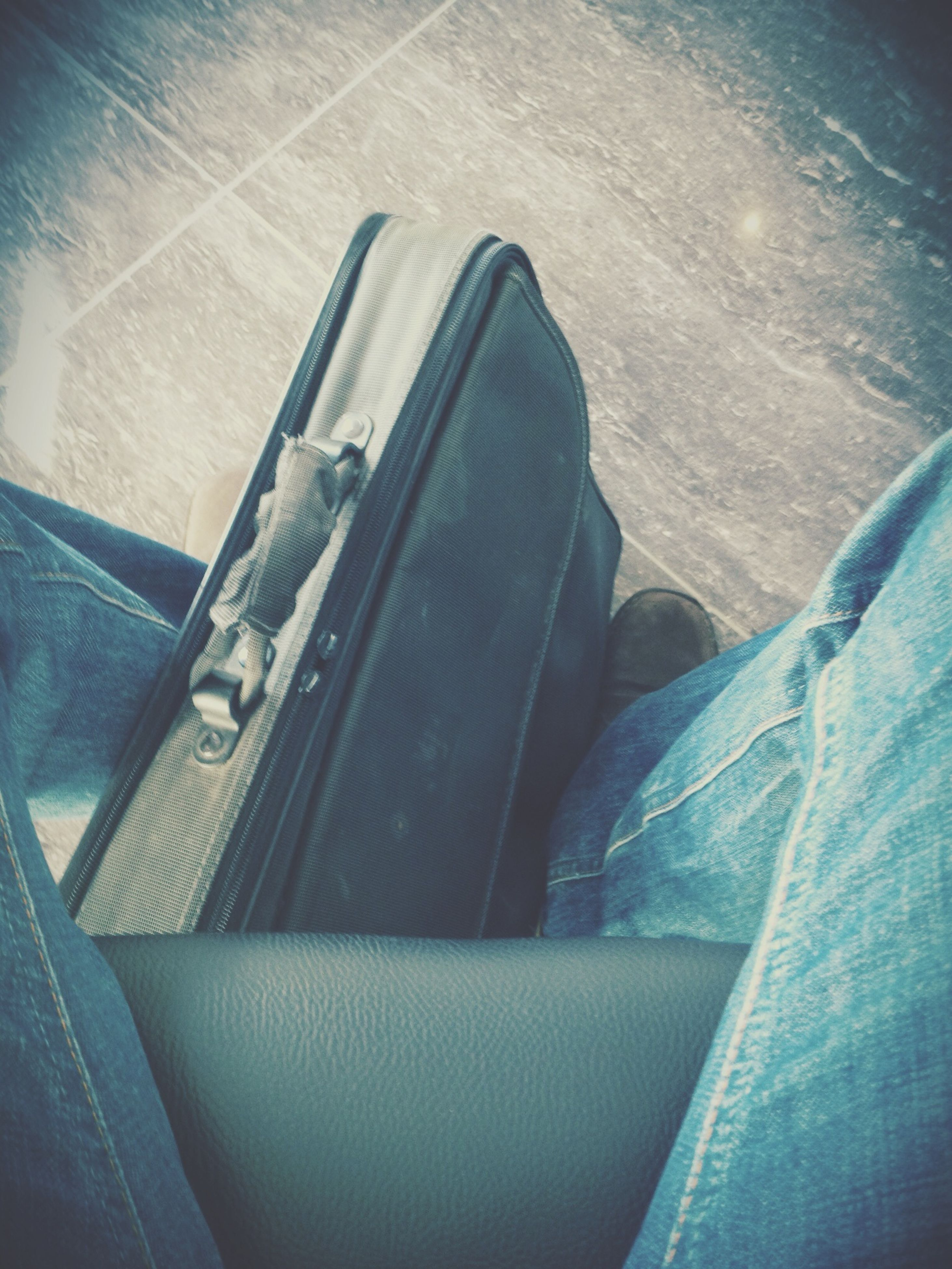 low section, person, transportation, high angle view, shoe, jeans, relaxation, mode of transport, land vehicle, sitting, indoors, personal perspective, sunlight, day, men, car, human foot, footwear