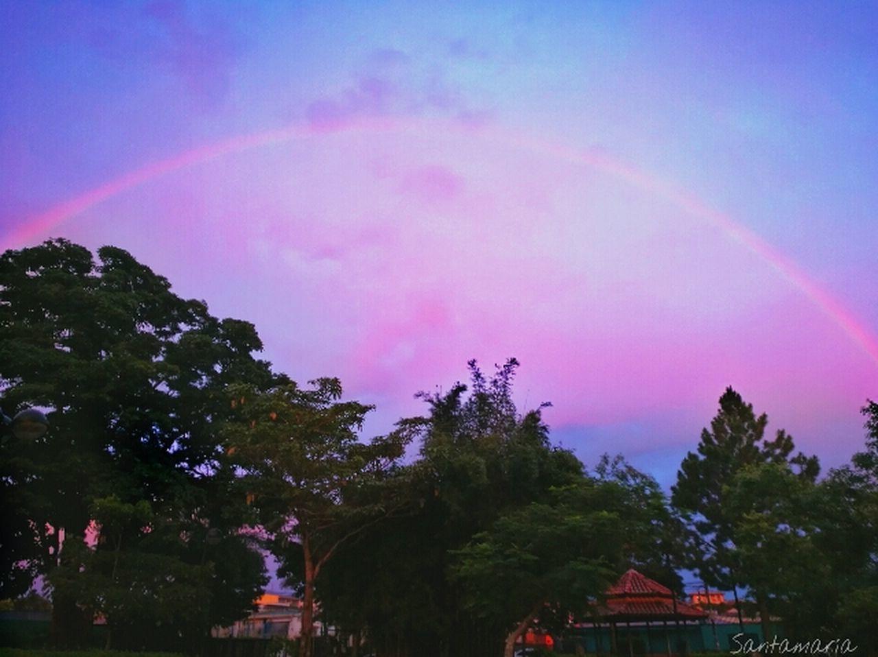 Rainbow! Sunset Outdoors Sky Tree Nature No People Beauty In Nature Raimbow Rainbow Sky Scenics Costa Rica Pura Vida ✌ Enjoying Life Costarica2016 Cloud - Sky