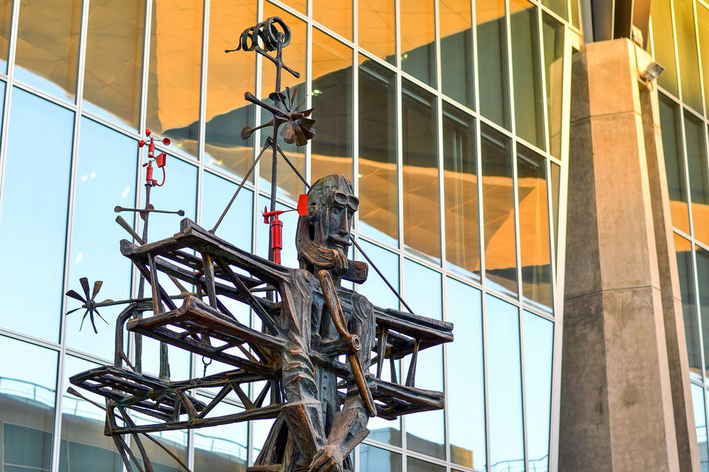 "Sculpture ""Aviator"" in front of the new terminal at Pulkovo Airport. Sculptor Dmitry Kaminker. Saint Petersburg, Russia New Terminal At Pulkovo Airport Airport Architecture Aviator Building Exterior Built Structure Day Low Angle View No People Outdoors Pulkovo Pulkovo Airport Russia Saint Petersburg Sculpture EyeEm Selects The Week On EyeEm"