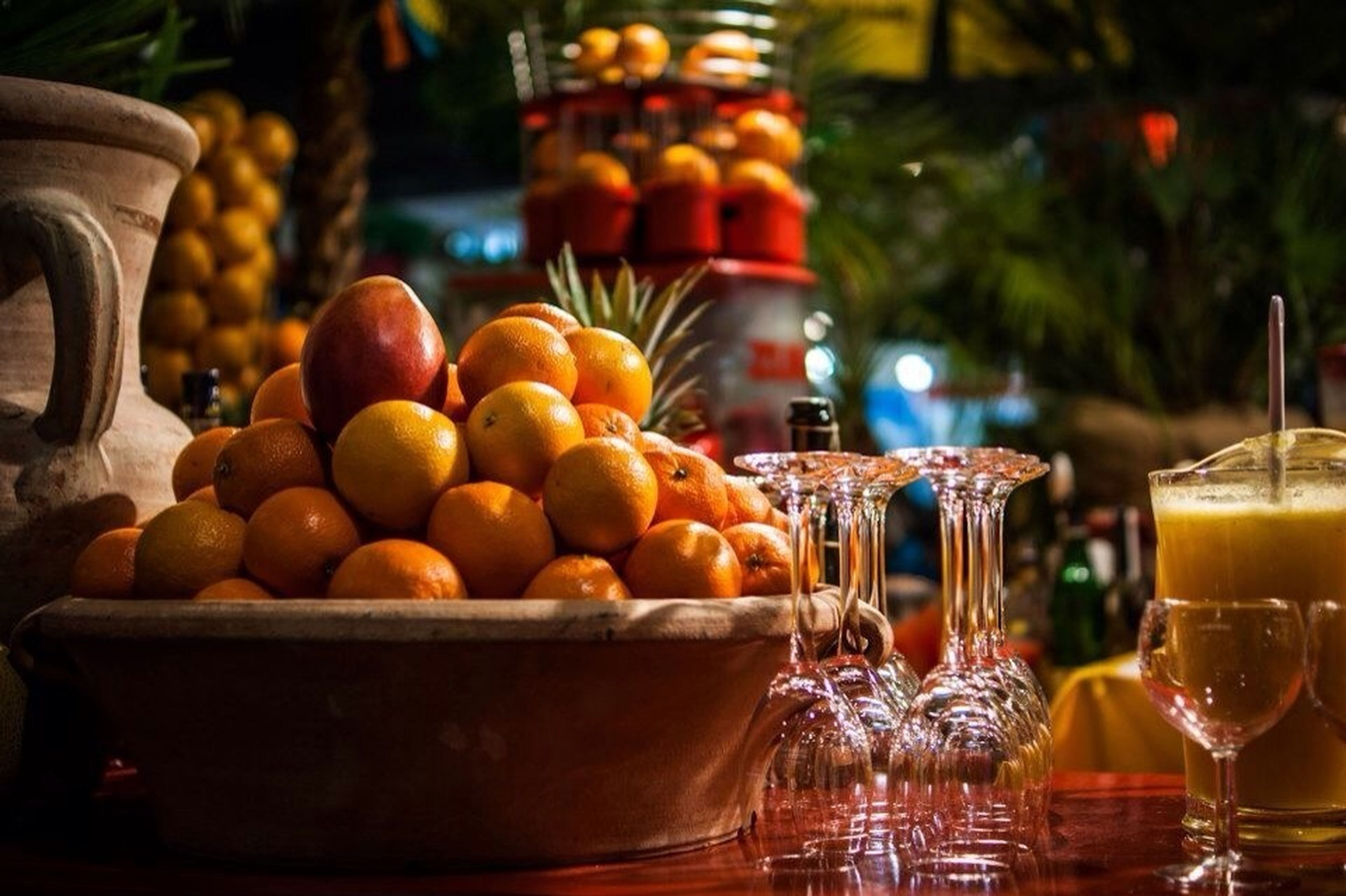 food and drink, freshness, food, healthy eating, fruit, still life, indoors, table, focus on foreground, close-up, large group of objects, drink, glass - material, abundance, refreshment, selective focus, orange - fruit, container, jar, no people