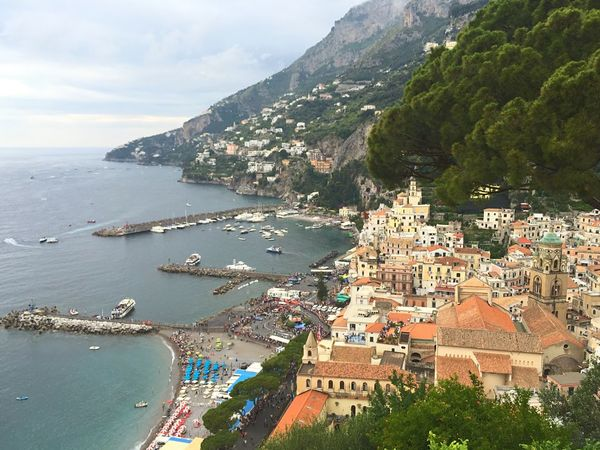 Amalfi Coast Italy Italy Holidays Travelling Landscape Nature View From Above Village By The Sea Sea Seaside Beach Summer Mediterranean