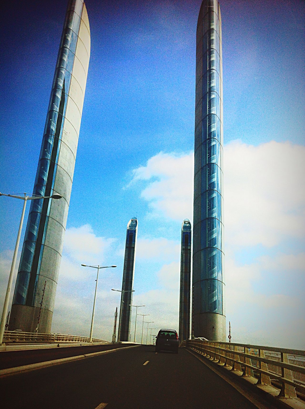 Pont Bridge jacques Chaban Delmas Bordeaux France Francia Frankreich Architecture Atlantic Coast Côte Atlantique Talking Pictures On The Road Travel Photography Taking Photos EyeEm Best Shots From My Point Of View IPhoneography 43 Golden Moments On The Way Urban Photography Streetphotography Drive On The Move Road Route