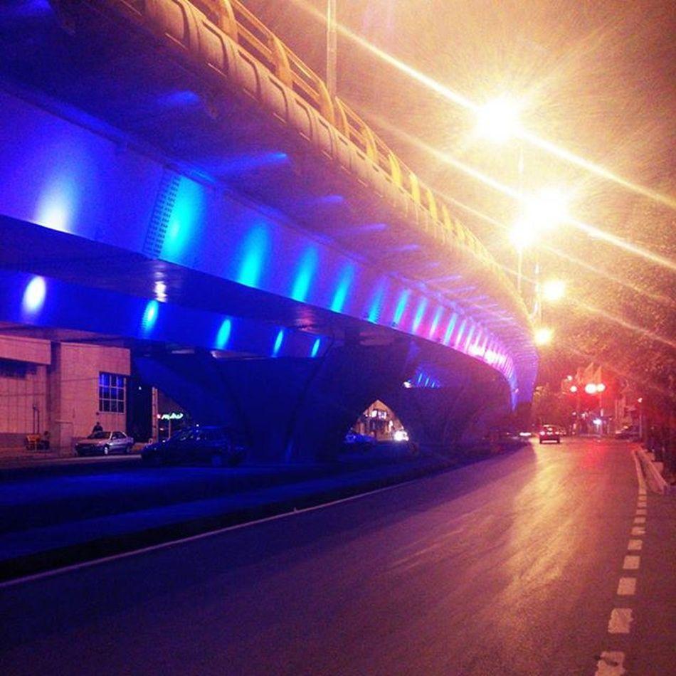 Iran Hamedan City Town Night Nightlife Summer Summertime Lights Colors Colorful Street Bridge ایران همدان شب تابستان خیابان چراغ تنهایی ولگردی