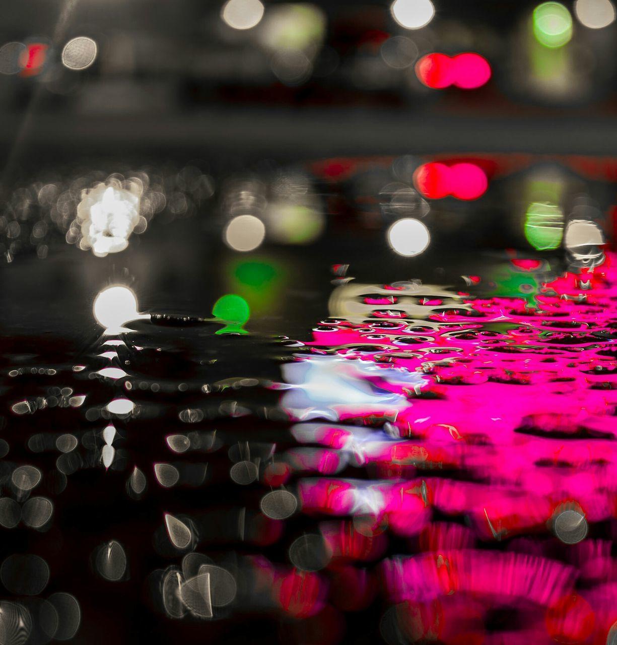 illuminated, water, no people, night, close-up, multi colored, indoors, nature, freshness