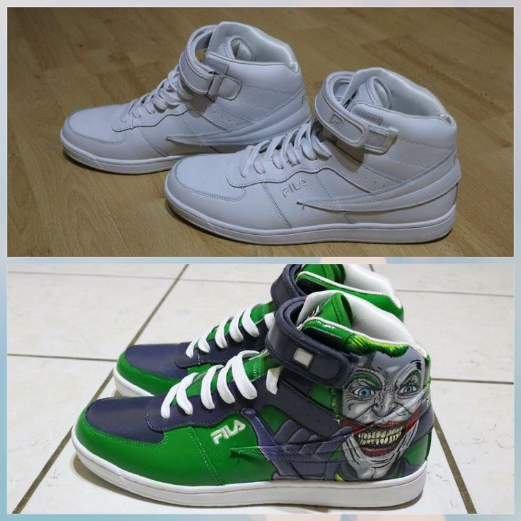 Before and after custom. Contact : creanimeshoes on instagram and facebook. Shoe Pair Shoes Art Sneakers Addict Drawing Sneakers Sneakers Of EyeEm Fila Sneakersaddict Draw Drawings Comics Dccomics Customise Thejoker Custom Customized Comics Character Drawing ✏ Art And Craft Drawing - Art Product Shoesoftheday Sneakershop Shoestagram
