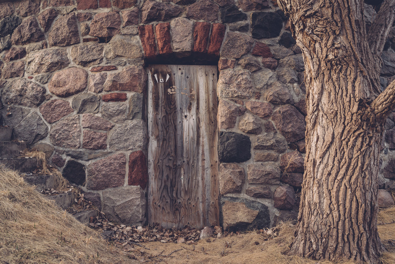 Architecture Bomb Shelter Brick Wall Building Exterior Built Structure Close-up Day Door Full Frame Grass History No People Old Old Ruin Outdoors Tree