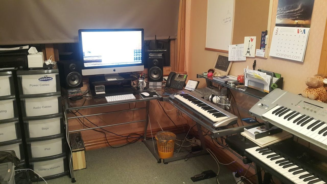 Arts Culture And Entertainment Business Finance And Industry Computer Computer Monitor Control Panel Day Desk Indoors  Microphone Mixing Music No People Recording Studio Sound Mixer Sound Recording Equipment Stereo Studio TakeoverMusic Technology