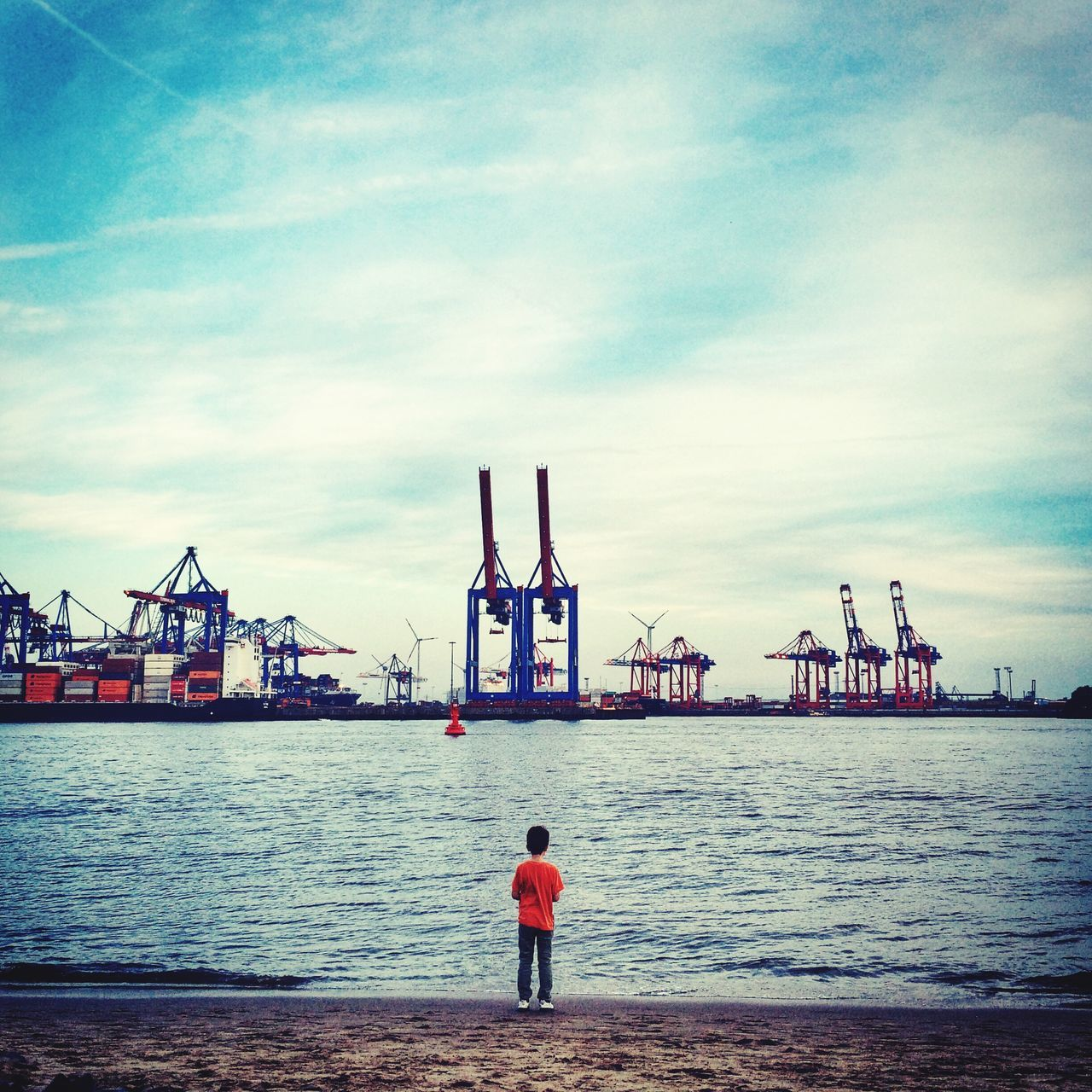 I am big Urban Landscape Children Cityscapes People Watching boy standing at urban harbour in Hamburg