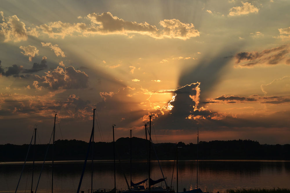 Beauty In Nature Calm Camping Place Cloud Cloud - Sky Cloudscape Dark Dramatic Sky Idyllic Lake Lake Ratzeburg Majestic Nature Nautical Vessel Orange Color Outline Scenics Silhouette Sky Sunset Tranquil Scene Tranquility Transportation Water Waterfront