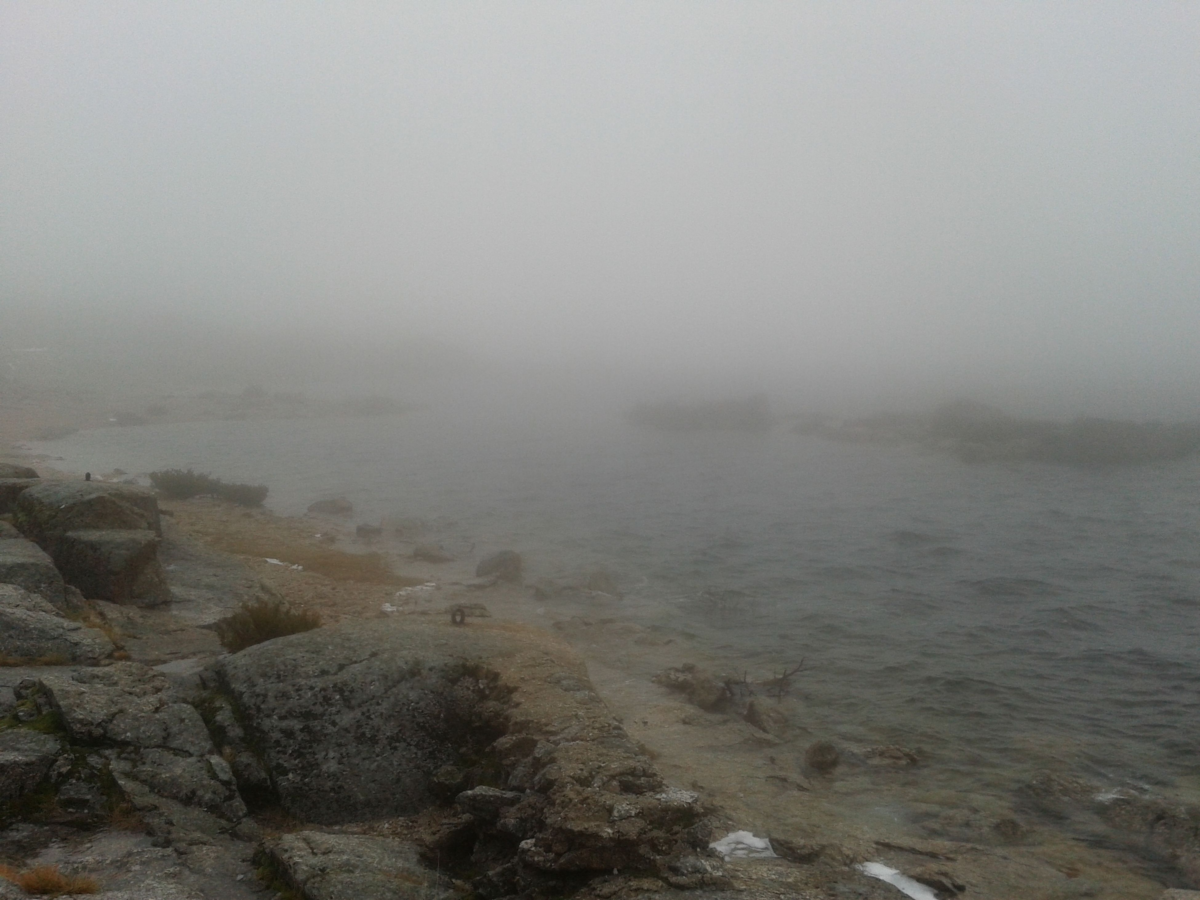 fog, foggy, weather, water, tranquility, tranquil scene, sky, scenics, nature, beauty in nature, copy space, overcast, landscape, day, outdoors, no people, non-urban scene, sea, idyllic