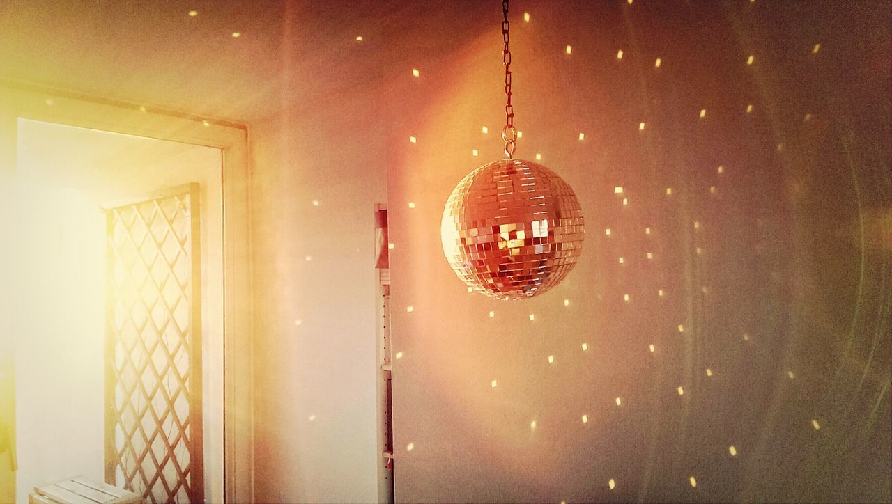 Disco ball hanging at home