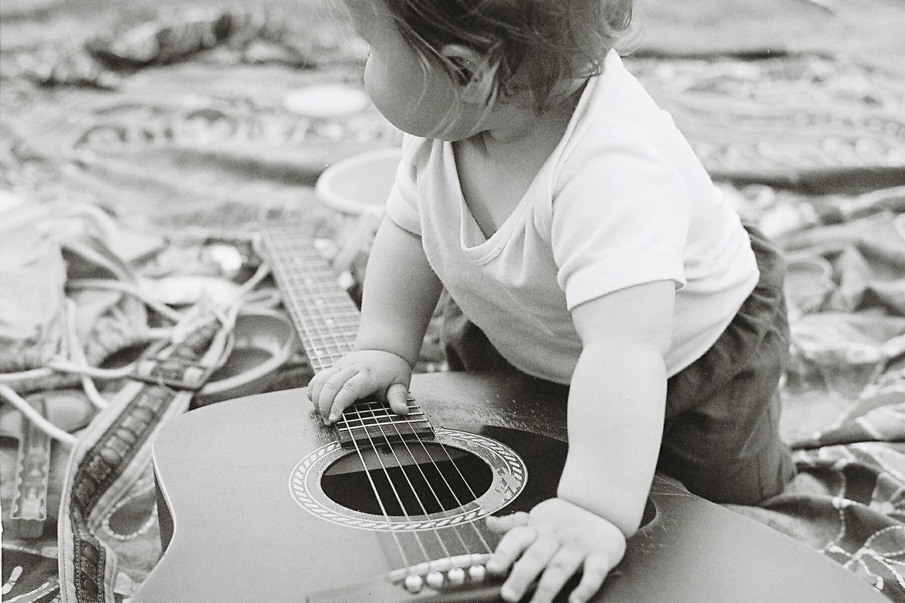 Beautiful stock photos of gitarre, one person, lifestyles, real people, children only