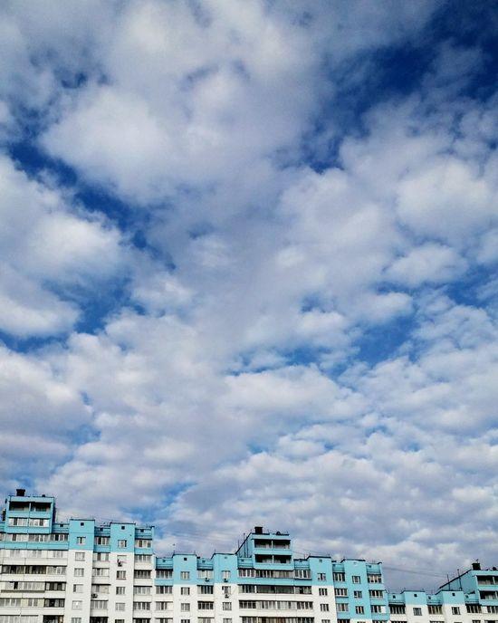 Sky Sky And Clouds Blue Arhitecture Buildings слияние города с небом