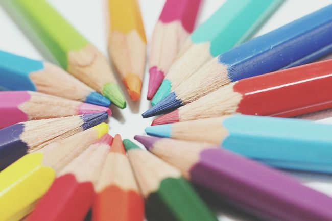 Close Up White Canvas Flash Red Indoorshot Drawing Colors Coloring Pencils Colorful