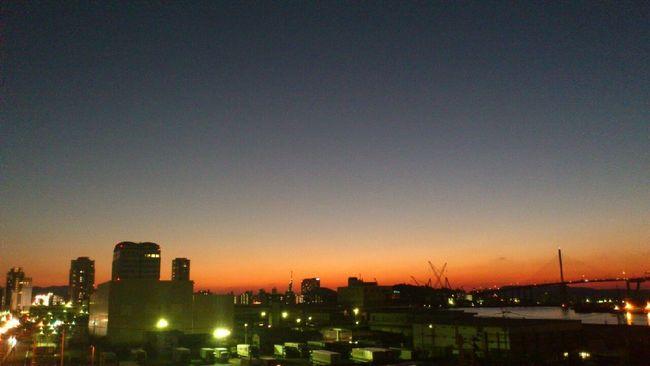 Japan Fukuoka Evening Sky Gradation Tower Fukuoka Tower Bridge Dome