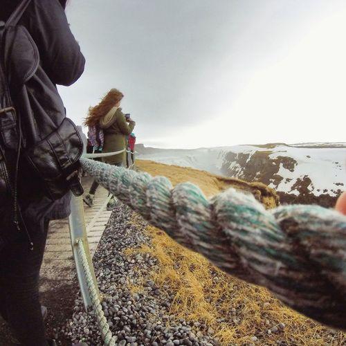 Iceland Waterfall Rope Leatherbag Rucksack Water