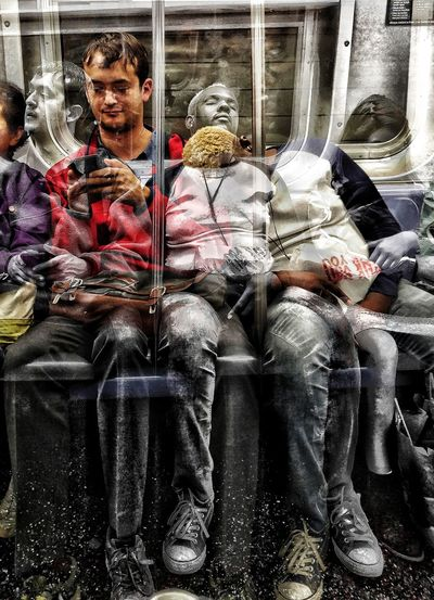 Hit And Missdreaming you're sitting while... Real People Indoors  Multiple Image Sitting Front View Built Structure NYC Subway Mixed Use Urban Landscape Architecture