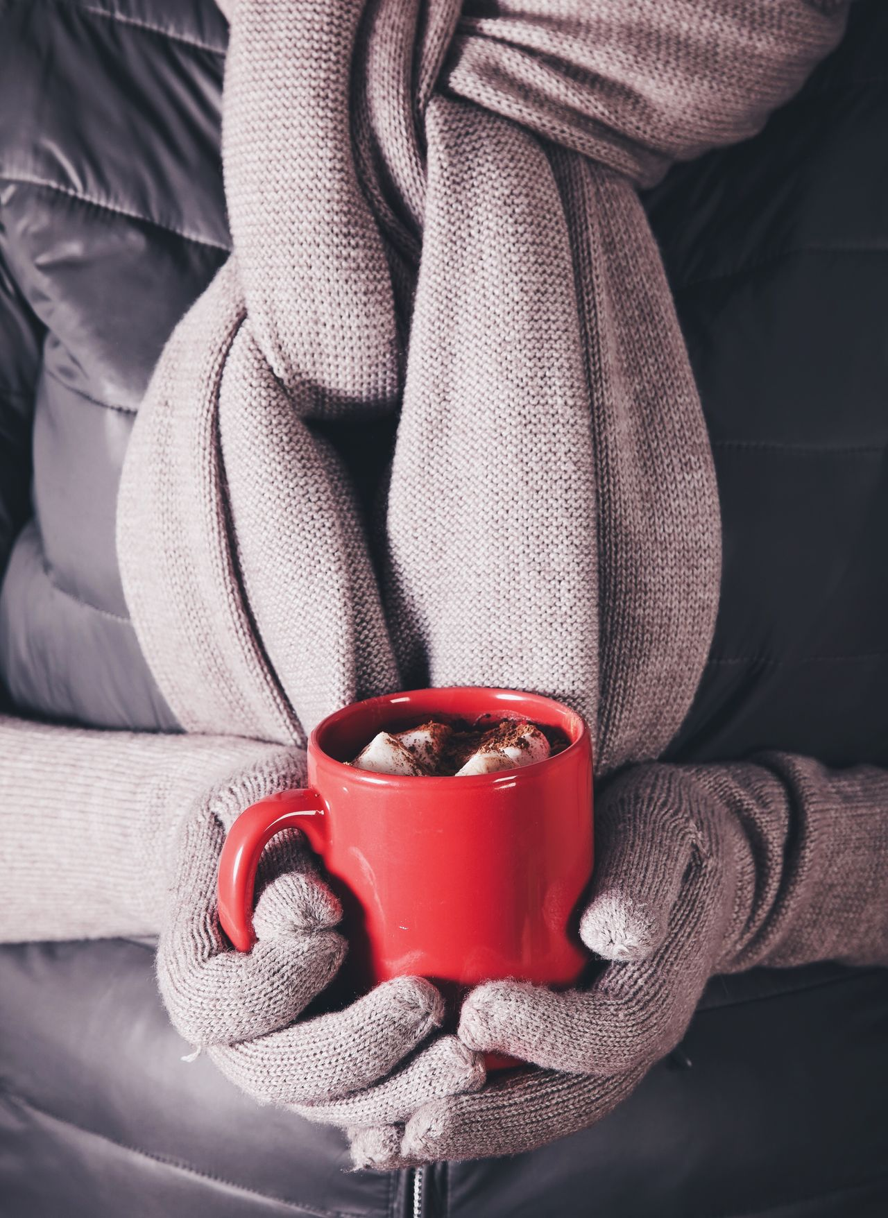 Holding Red One Person Food And Drink Winter Midsection Refreshment Drink Close-up Human Hand Low Section Freshness Day Human Body Part People Traditional Chocolate Hot Chocolate Marshmallows Warm Hot Always Be Cozy Gloves Cozy Cold Temperature