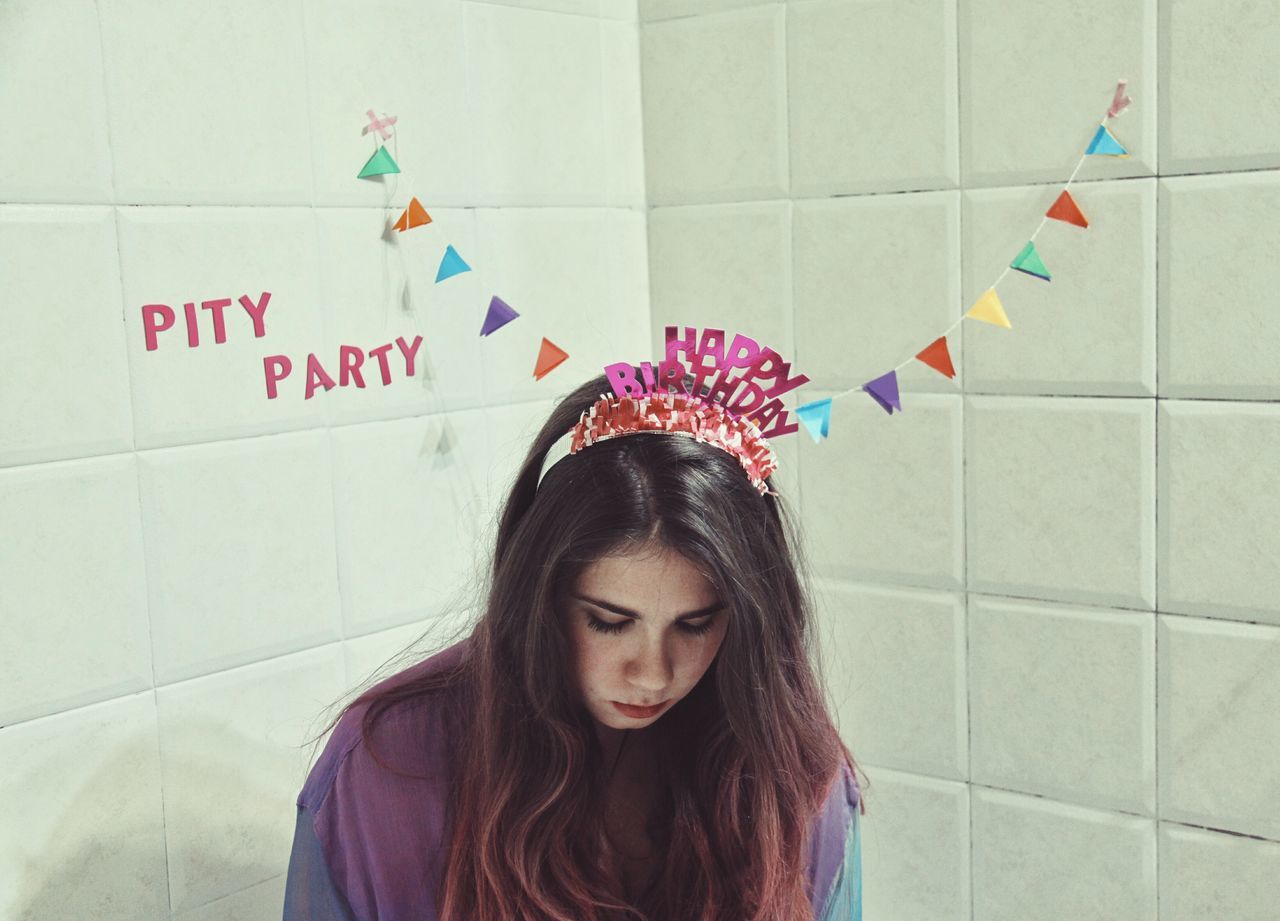 It's my party and I'll cry if I want to.Cry If I Want To. Young Adult Females Portrait Indoors  Crown Party Hat Only Women Girl Birthday Girl Young Women Adults Only Beauty Beautiful People Beautiful Woman Adult People One Person One Woman Only Close-up One Young Woman Only Skin Care Day Lonely Sad Party