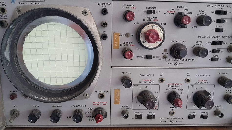Oscilloscope Physics Science And Technology Indoors  Control Knobs Controller Research And Development Research Scientific Equipment Instruments Scientific Antique Classic Object Photography Experiments Laboratory