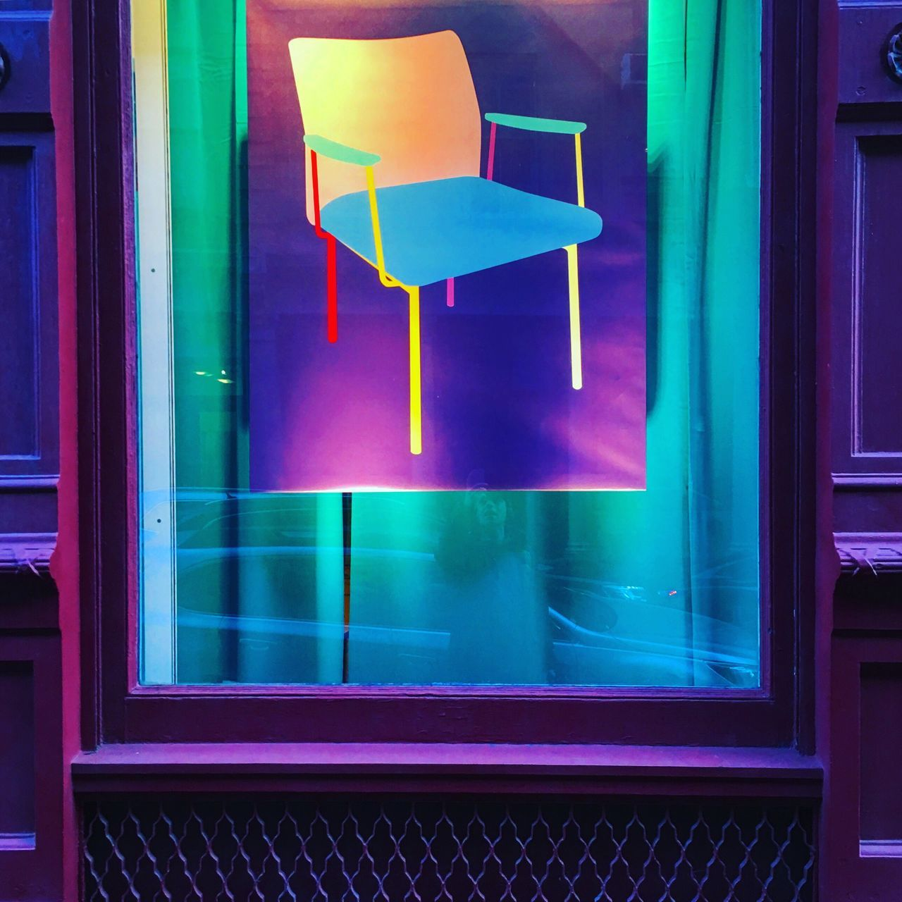 Indoors  No People Illuminated Day Purple Window Chair Colors