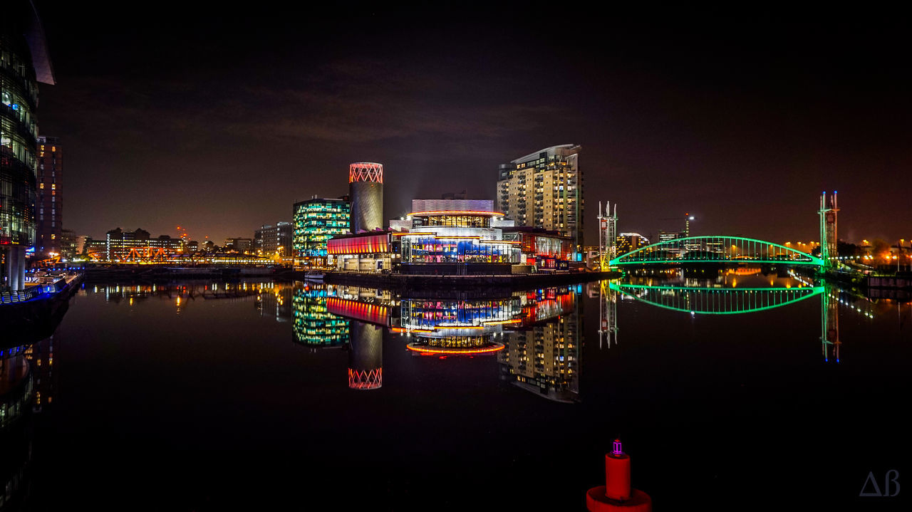 Architecture Building Exterior City Cityscape Colourful Illuminated Long Exposure Manchester Mediacityuk Modern Neon Night Nightlife Nightphotography No People Outdoors Reflection Salford Sky Skyscraper Travel Destinations Urban Skyline Water First Eyeem Photo