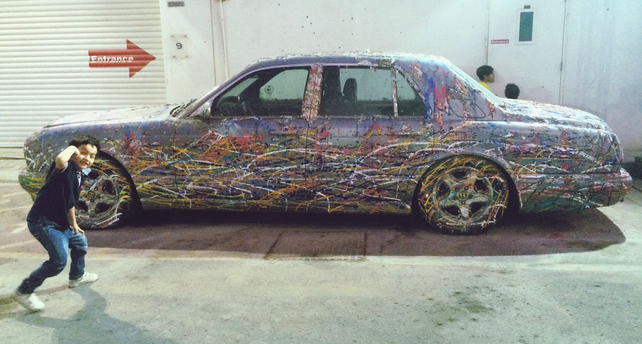 Paint splashed Bentley & the Kid Art Installation