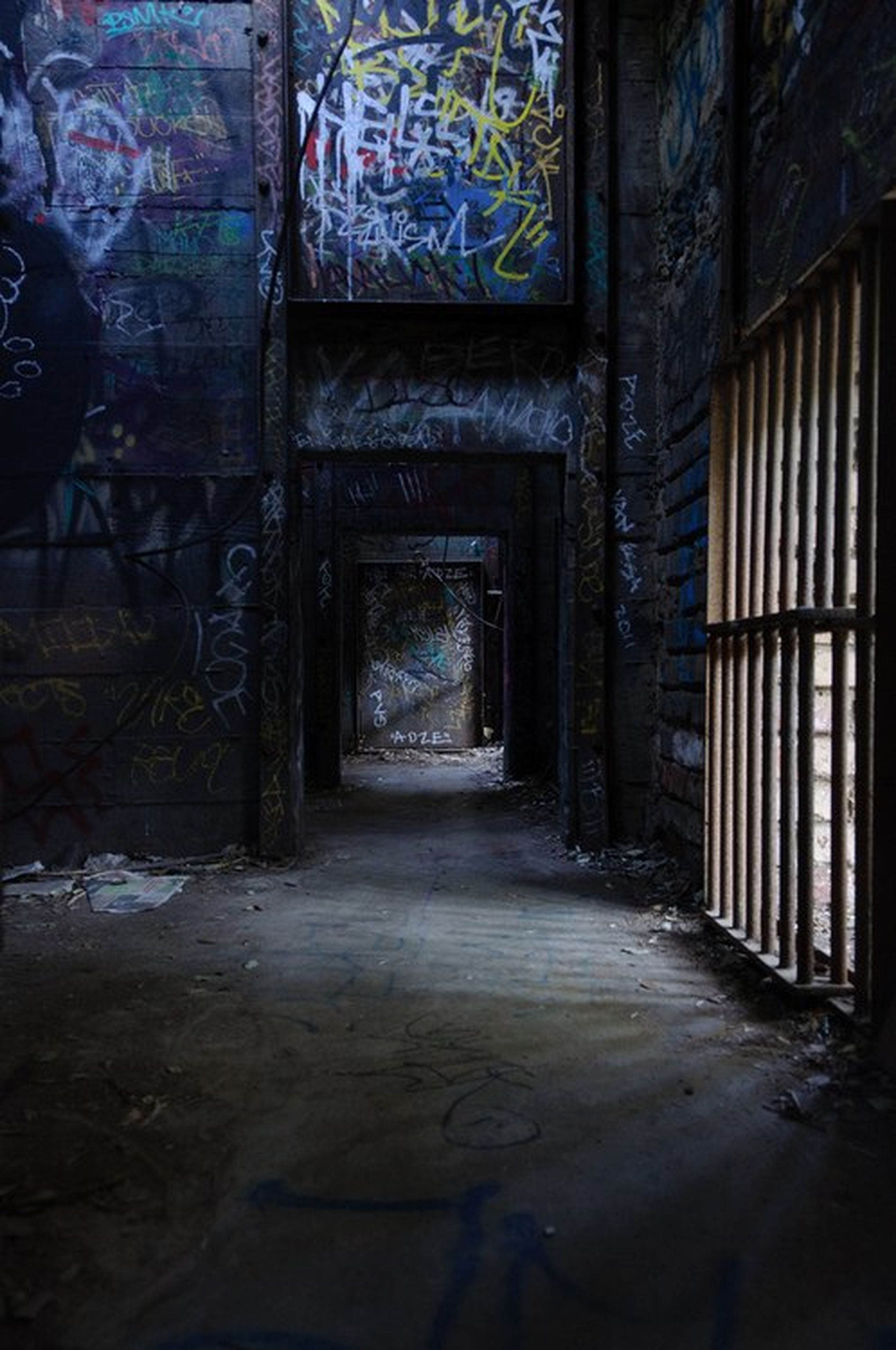 architecture, built structure, indoors, the way forward, building, abandoned, wall - building feature, building exterior, window, old, corridor, narrow, damaged, alley, sunlight, wall, empty, obsolete, deterioration, house
