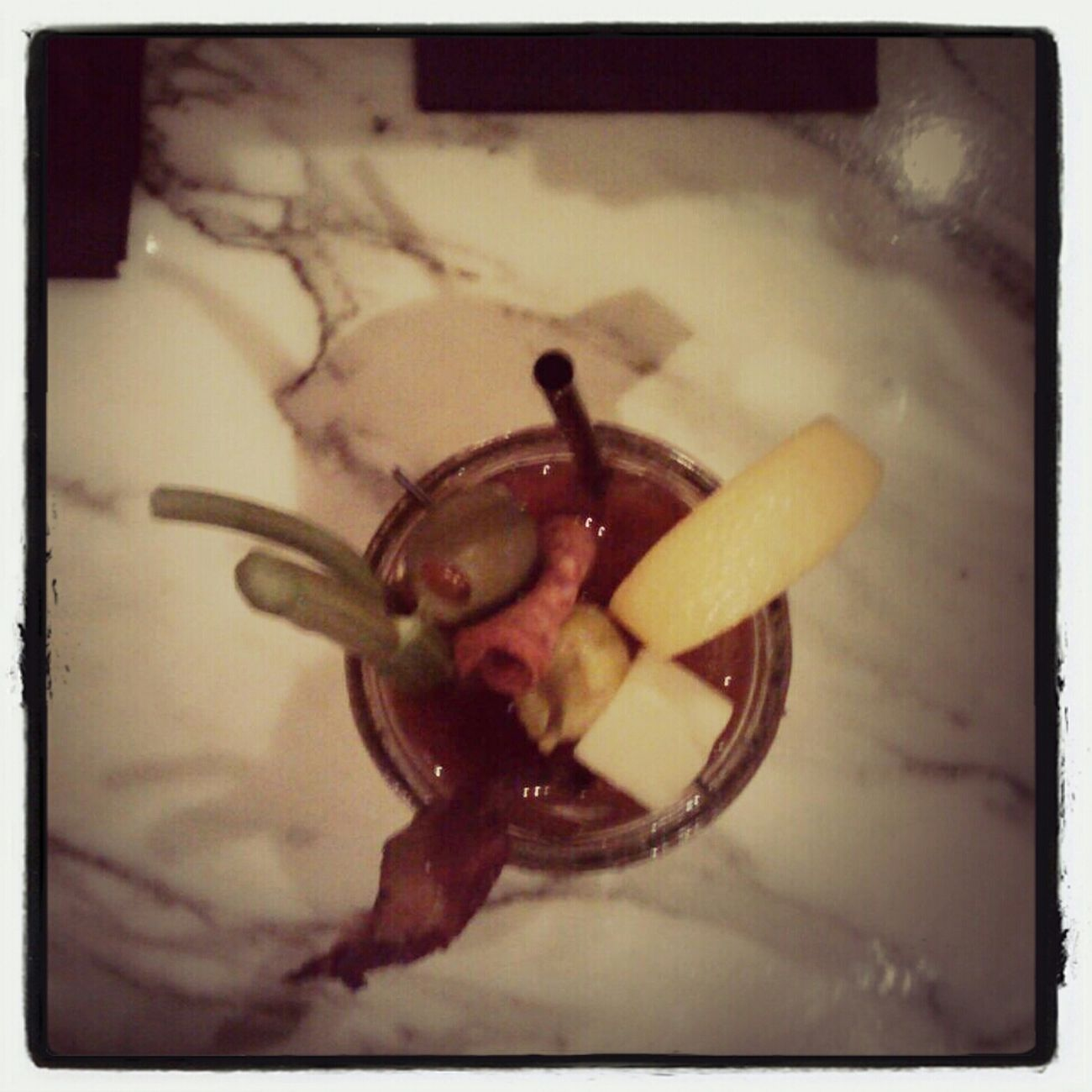 My bloody mary had a slice of bacon in it...among other things.