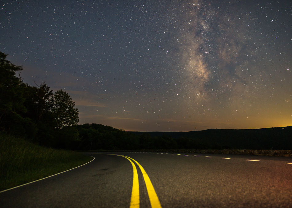 """Sky""-line Drive Asphalt Astronomy Astrophotography Diminishing Perspective Double Yellow Line Empty Road Infinity Milky Way National Park Nature Night No People Outdoors Road Road Marking Shenandoah National Park Sky Space Stars Universe"