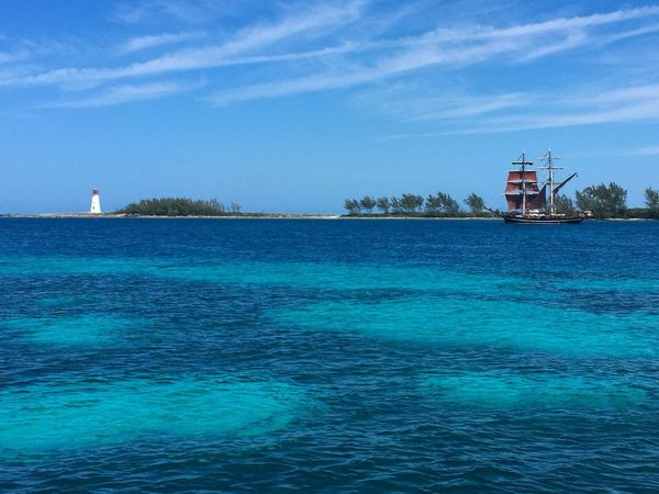 On The Way Sea Bahamas Ship Boat Feel The Journey Blue Sky The Essence Of Summer Lighthouse Island Caribbean Beautiful Outdoors Nopeople Landscape Scenics Nature Sea And Sky Exotic My Favorite Photo Nassau, Bahamas Nassau The Great Outdoors - 2016 EyeEm Awards Traveling Let's Go. Together.