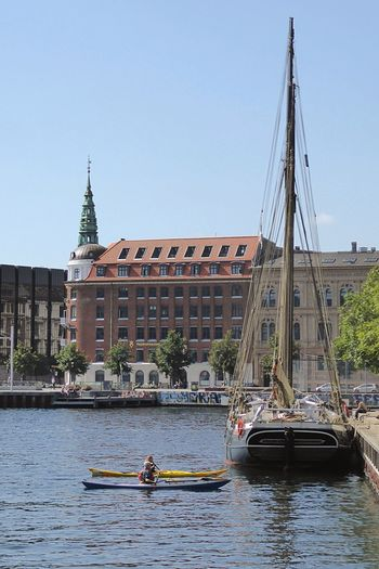 Denmark 🇩🇰🇩🇰🇩🇰 Wonderful Copenhagen Summer ☀ Nautical Vessel Architecture Transportation Built Structure Mode Of Transport Building Exterior Day Outdoors Clear Sky Water Sky Nature No People Kanoe Kanoes Spiral Church Tower Sailing Ship At The Docks The Port Of Copenhagen Christianshavn Clear Sky Waterfront
