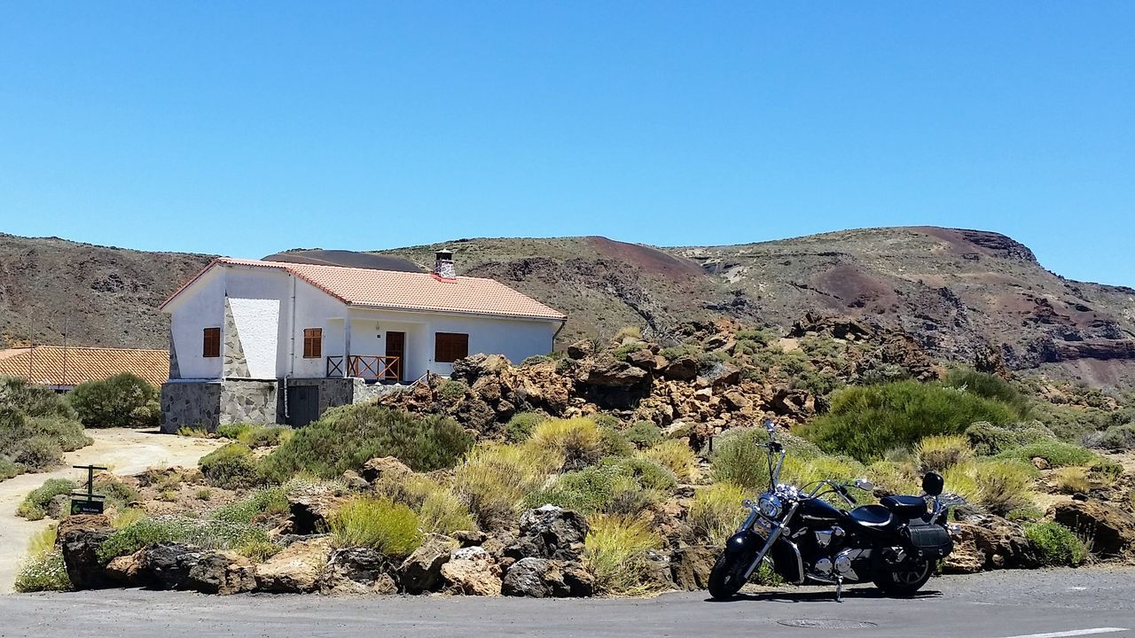 Architecture Arid Climate Blue Building Exterior Built Structure Clear Sky Day Desert Motorbike Motorbikes Motorcycle Motorcycles Mountain Nature Nature No People Outdoors Sky Sunny Teide National Park Tenerife Tree