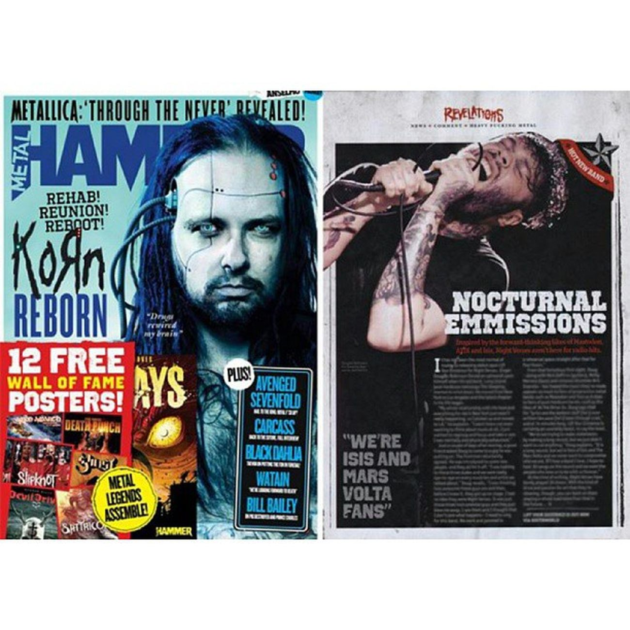 My shot on the right of Douglas from Night Verses printed on this month's MetalHammer Magazine. #metalhammer #magazine #douglas #nightverses #liveshot #singing #cool #instacool #printed #photo #concertphotographer #job #pudding #epphotography #microphone #tattoos #work