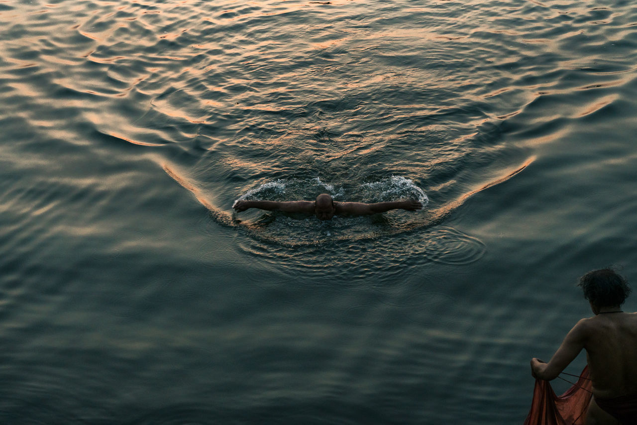 Morning Swim, Ganges River, Varanasi Color Color Palette Color Photography Colorful Colours Ganges Ganges River India India_clicks Indian Culture  Indianstories Indiapictures Outdoors Real Life Real People Street Photography Streetphotography Sunrise Swimming Travel Travel Destinations Travel Photography Travelphotography Varanasi Varanasi India