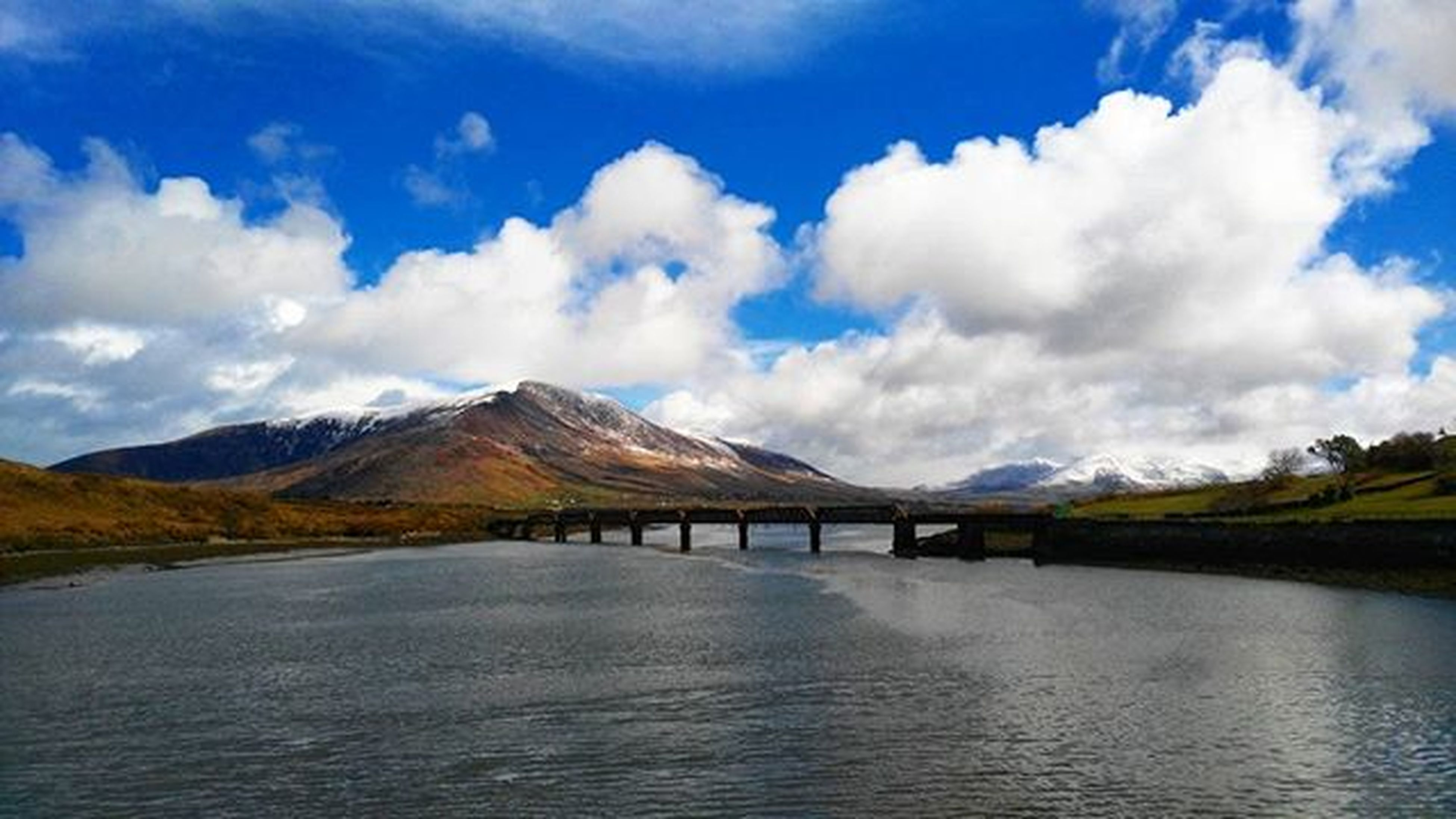 mountain, tranquil scene, sky, tranquility, water, scenics, mountain range, beauty in nature, cloud - sky, waterfront, cloud, lake, nature, river, landscape, the way forward, cloudy, non-urban scene, idyllic, blue
