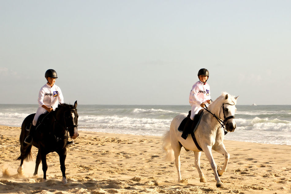 Adult Adventure Beach Bonding Day Domestic Animals Event Friendship Full Length Horse Horse Racing Horseback Riding Jockeys Juniors Nature Outdoors People Pets Riding Sea Two People Yearling Young Adult