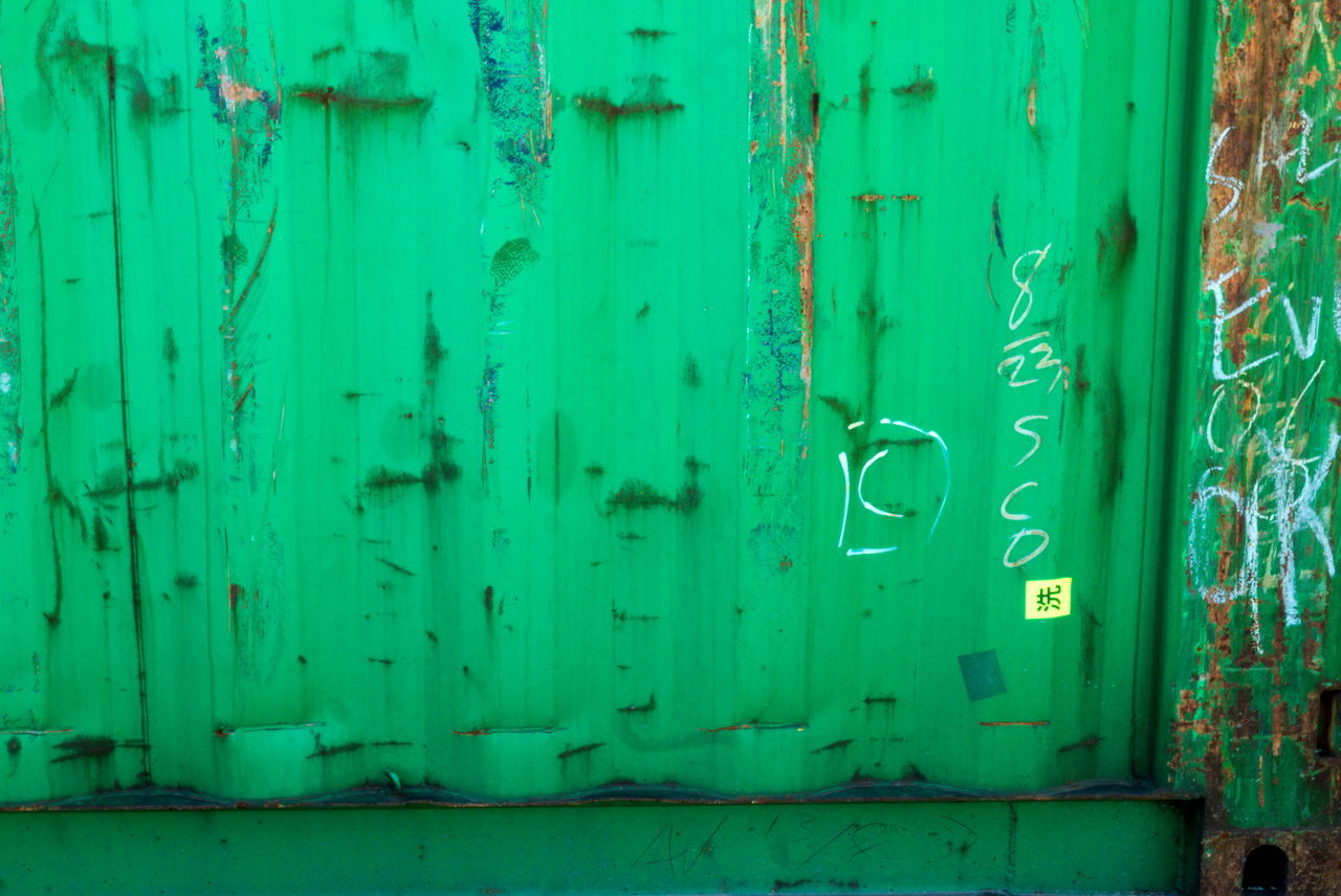 Backgrounds Close-up Container Full Frame Green Color Rusty Steel Tags