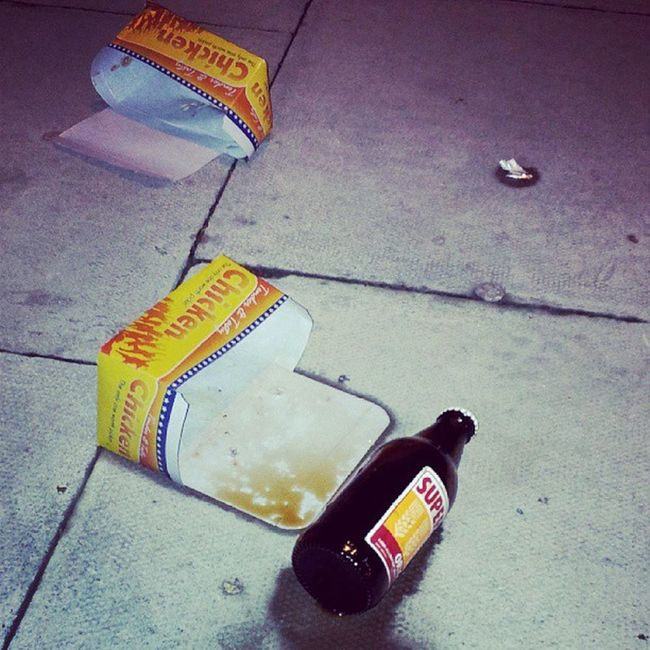 I think this is THE most Stereotypical Aftermath I think I have ever happened across :(...Friedchicken and Maltbeer ...