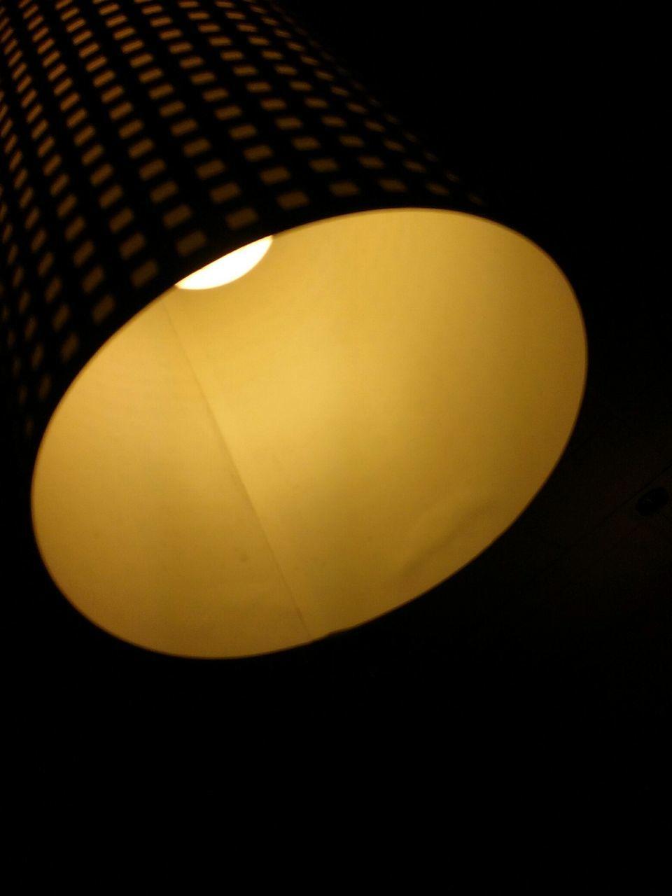 illuminated, lighting equipment, studio shot, black background, no people, night, close-up, yellow, lamp shade, indoors, low angle view