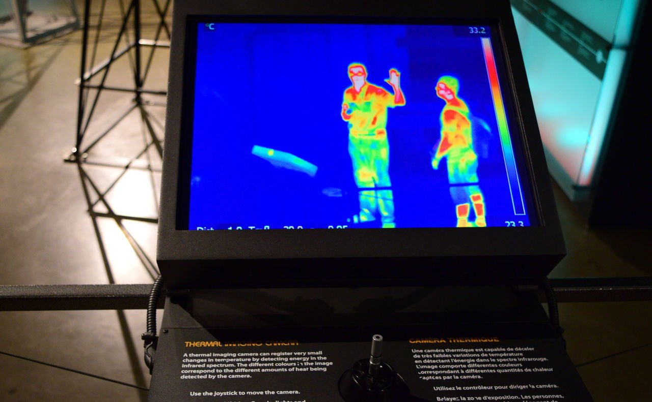 Canada Science & Technology Museum Close-up Day Human Representation Indoors  Infrared Camera Infrared Photography Male Likeness No People Photo Of Computer Screen Science Museum  Sky Statue Technology Museum Thermal Image Two Men Standing