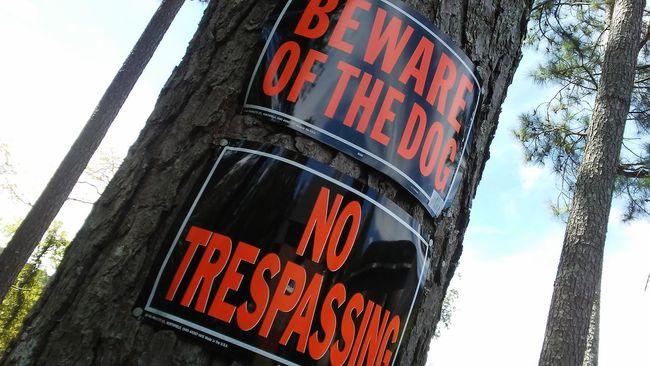 Beware Trespassing Dog Sign Signs Signage Signs & More Signs Signs - Warnings Signpost Beware No