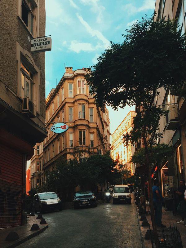 Neighborhood Map Galata Beyoğlu Istanbul Street Streetphotography Street Photography Way Road Cars Sunny Sunnyday Good Day Goodday Vintage Chromatic Urban Hypebeast  Instant Essence Of Summer Last Building Exterior Built Structure Sky