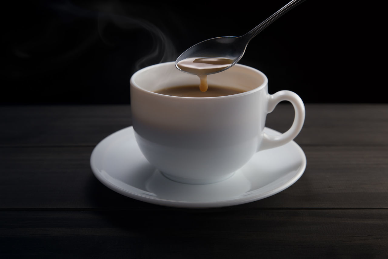 Make hot coffee on black background Beverage Black Coffee. Cafe Caffeine Cappucino Coffee Coffee - Drink Coffee Cup Cup Drink Espresso Food And Drink Latte Make Coffee Mug Refreshment Saucer Spoon Still Life Photography Teaspoon