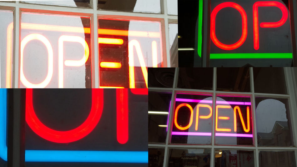 Photo montage of open for business signs Abstract Sign City Collage Comercial Sig Illuminated Information Information Sign Multi Colored Neon No People Open For Business OpenEdit Photo Montage Signs Window Signs