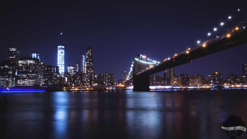 New York City skyline from Brooklyn.🌃🗽 New York City Brooklyn Brooklyn Bridge / New York Brooklyn Bridge  New York NYC Night Architecture City River Urban Skyline Sky No People Long Exposure Cold Freedom EyEmNewHere Freedom Tower Illuminated Skyscraper Nightlife Miles Away