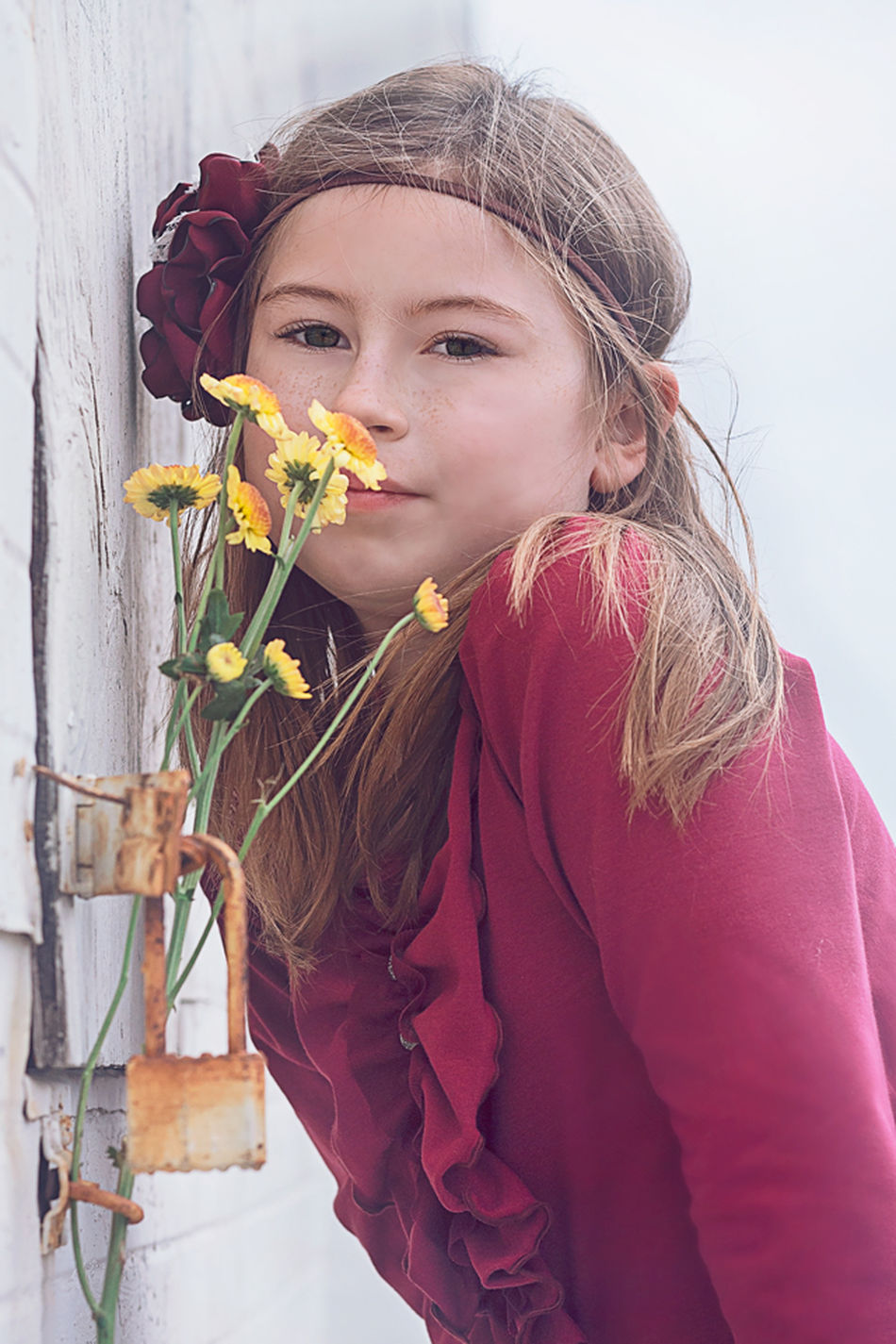 Accessories Canon Child Outdoor Child Portrait Child With Daisies Children's Portraits Day Front View Girl In Red Hapa Headshot Leisure Activity Lifestyles Little Girl With Headband Looking At Camera Portrait Red Showcase April Smelling The Flowers Smiling Three Quarter Length Vintage Style Waist Up Yellow Daisy The Portraitist - 2016 EyeEm Awards