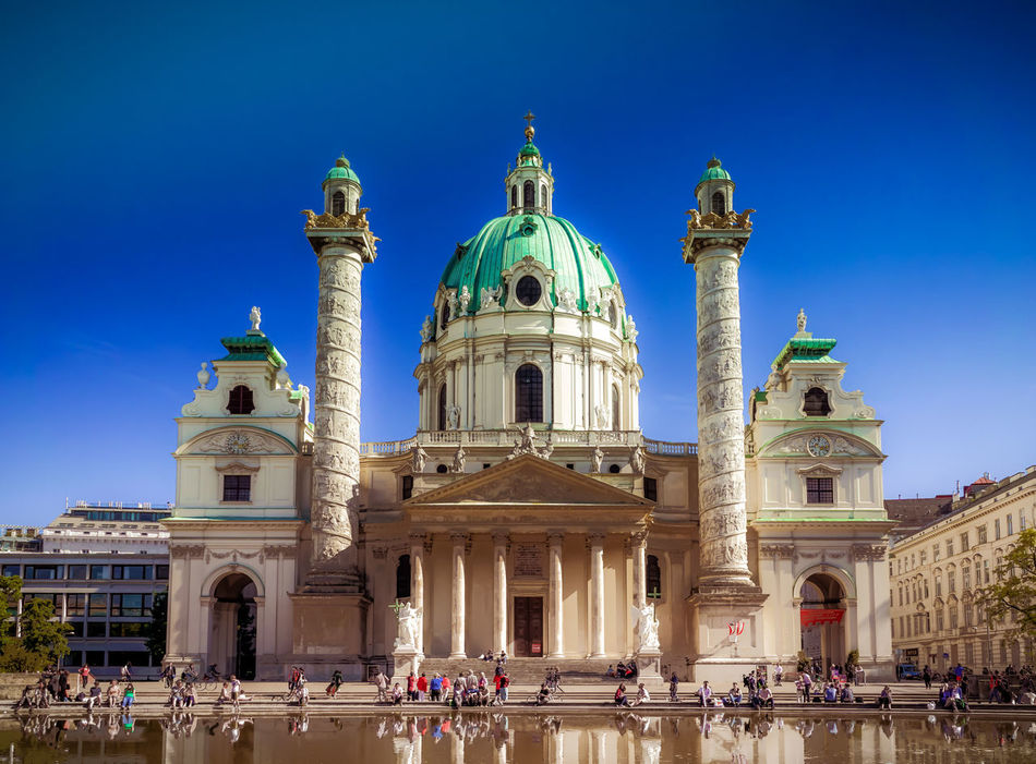 Architecture Barok Building Exterior Built Structure Capital Cities  Cathedral Cathedral Church Curch Dome Façade Famous Place Fountain Historic History International Landmark Karlskirche Place Of Worship Pond Religion Spirituality Vienna