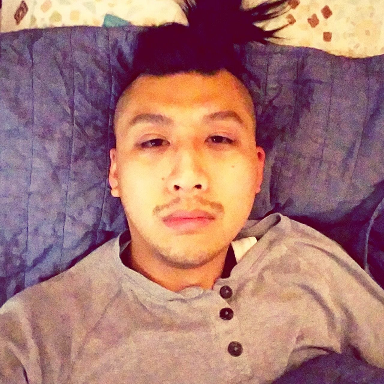 The lazy morning, wake up and open your eyes to think, what will i be today look. Real People Close-up One Young Man Only Indoors  Headshot Modeling Angles Growth Selfıe Asian  Amateurmodelling Men Mustache Lips Handsome Menhairstyle Mensfashion Questioning