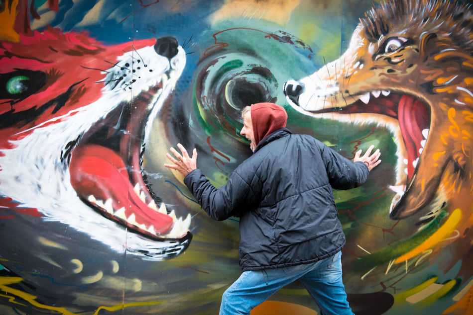 Adults Only Aggressive Attack Beast Of Prey Beasts Close-up Danger Dangerous Day Epic Fox Human Body Part Men Mortal Agony Nightmare One Man Only One Person Open Mouth Outdoor Panic Psychedelicart Spray Paint Victim Wolf